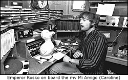 Rosko in the Caroline studio on the mv Mi Amigo